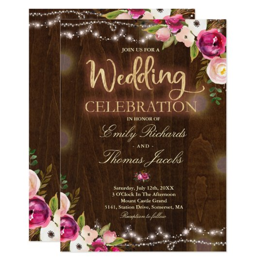 Rustic Wedding Invitation Watercolor Floral Lights