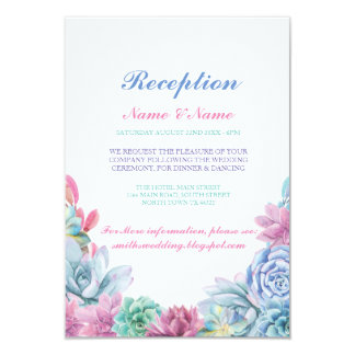 Rustic Wedding Reception Cards Pastels Succulents