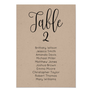 Rustic wedding seating chart. Kraft table plan Card