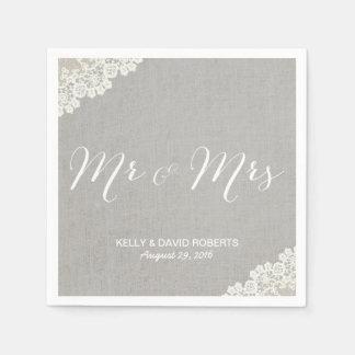 Rustic Wedding Vintage Lace & Linen Mr & Mrs Disposable Serviette