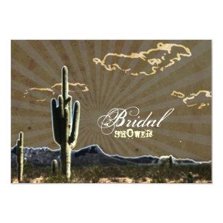 Rustic western country cactus bridal shower 13 cm x 18 cm invitation card