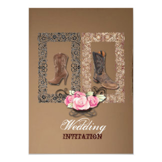 Rustic western country cowboy wedding card