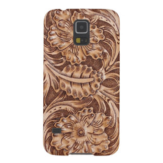 Rustic western country pattern tooled leather cases for galaxy s5