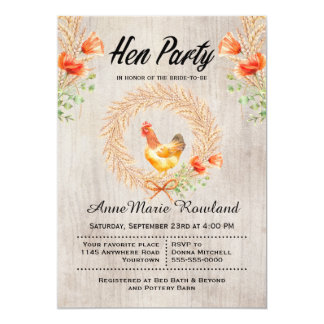 Rustic Wheat Wreath and Poppies Hen Party Invite