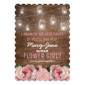 Rustic Whimsical Flower Girl | Pink Floral Card