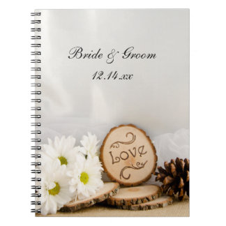 Rustic White Daisies Woodland Wedding Spiral Note Book