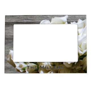 Rustic White Flowers Personalized Magnetic Frame