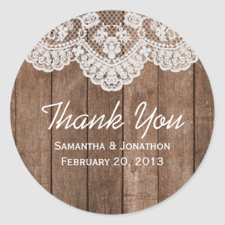 Rustic White Lace and Wood Wedding Thank You Classic Round Sticker