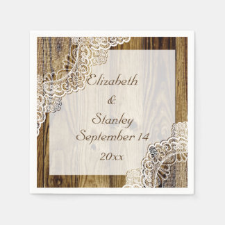 Rustic white lace on wood rustic wedding paper napkins