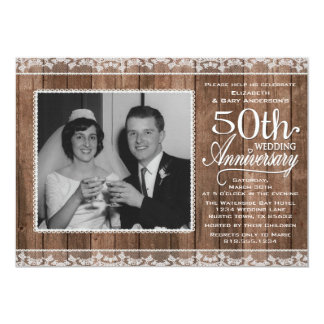 Rustic White Lace & Wood 50th Wedding Anniversary Card