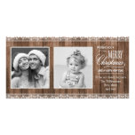 Rustic White Lace & Wood Christmas Photo Card Template