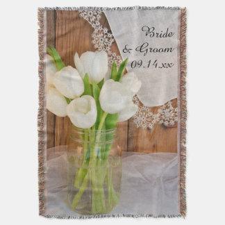 Rustic White Tulips Country Barn Wedding Throw Blanket
