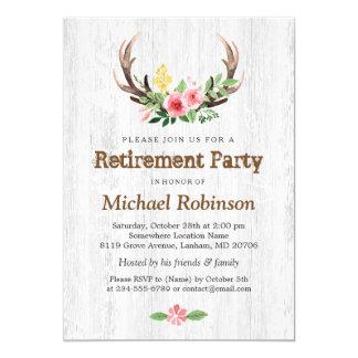 Rustic White Wood Deer Antler Retirement Party 13 Cm X 18 Cm Invitation Card