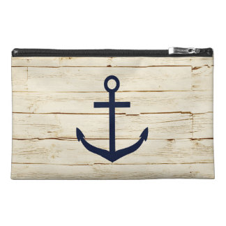 Rustic White Wood with Anchor Travel Accessories Bags