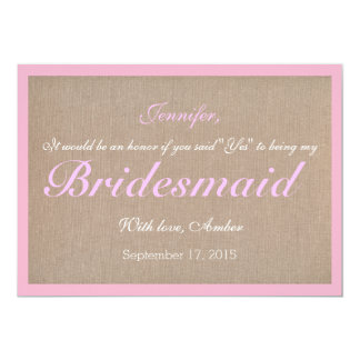 Rustic Will You Be My Bridesmaid Invitation