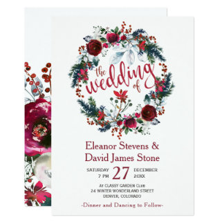 Rustic winter burgundy floral wreath wedding card