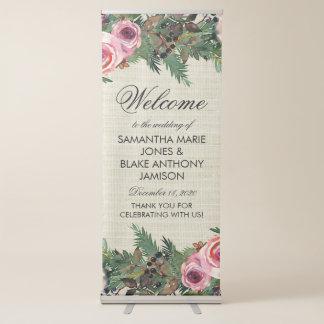 Rustic Winter Burlap Pine Rose Wedding Welcome Retractable Banner