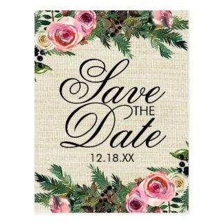 Rustic Winter Burlap Pine Wedding Save the Date Postcard