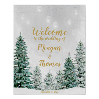 Rustic winter christmas tree wedding welcome sign
