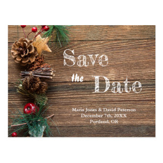 Rustic Winter Country Wedding Save the Date Postcard