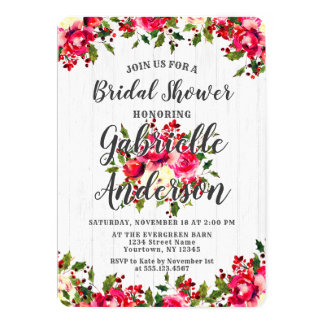 Rustic Winter Holly Berry Bridal Shower Invitation