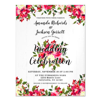 Rustic Winter Holly Magnetic Wedding Invitation
