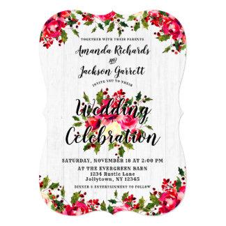 Rustic Winter Holly White Wood Wedding Invitation