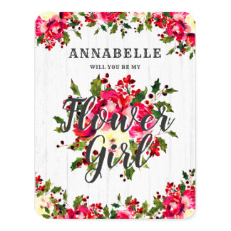 Rustic Winter Holly Will You Be My Flower Girl Card