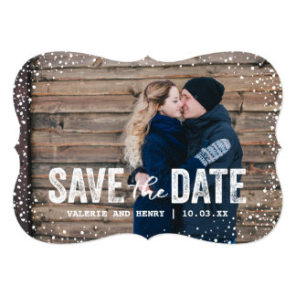 Rustic Winter Save The Date Full Bleed Photo 13 Cm X 18 Cm Invitation Card
