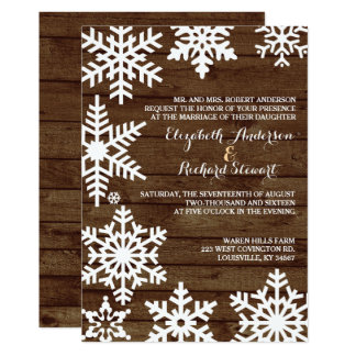 Rustic Winter Wedding Barn Wood Snowflakes Card