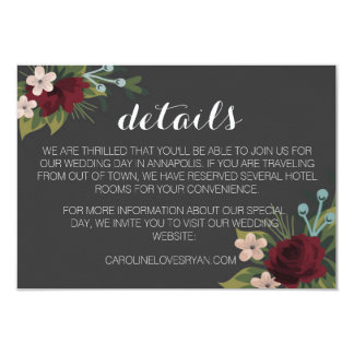 Rustic Winter Wedding Details Card