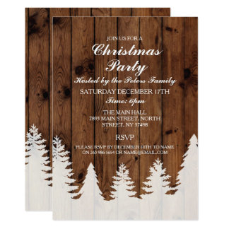 Rustic Winter Wood Trees Christmas Party Invite