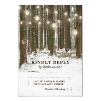 Rustic Winter Woodland Tree Lights Wedding RSVP Card