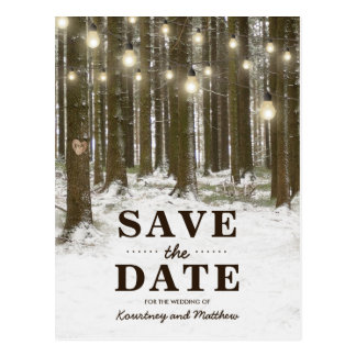 Rustic Winter Woodland Tree Save the Date Postcard