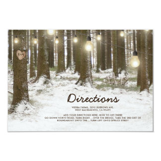 Rustic Winter Woodland Tree Wedding Directions Card