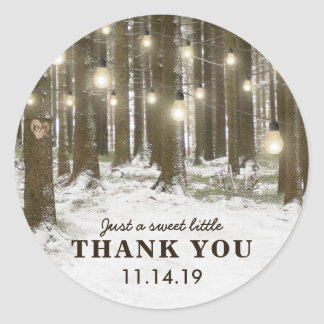 Rustic Winter Woodland Tree Wedding Favour Classic Round Sticker