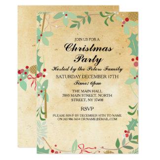 Rustic Winter Xmas Foliage Christmas Party Invite