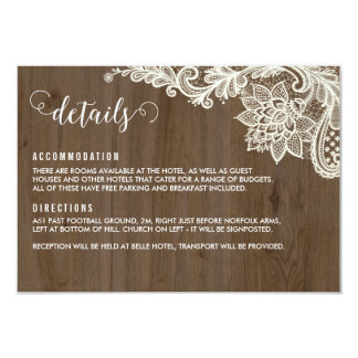 Rustic Wood and Lace Details Cards
