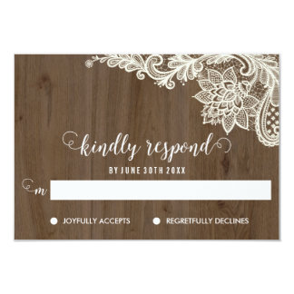 Rustic Wood and Lace RSVP Cards