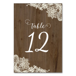 Rustic Wood and Lace Table Numbers