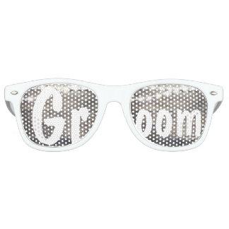 Rustic wood and string lights wedding Groom Retro Sunglasses