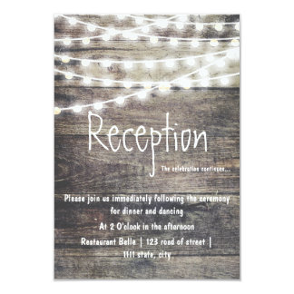 Rustic wood and string lights wedding reception card
