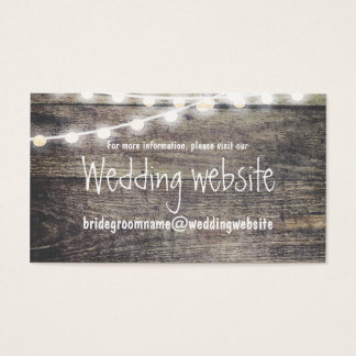 Rustic wood and string lights wedding website
