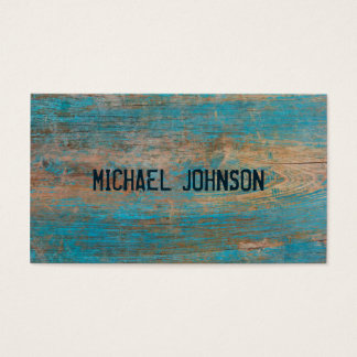 Rustic Wood Blue Peeling Paint Grunge Font Style Business Card