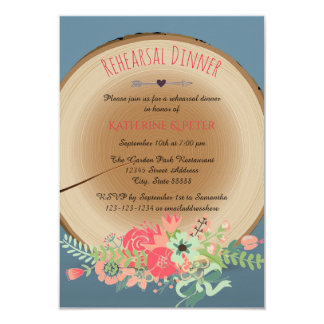 Rustic Wood Bouquet-3x5Rehearsal Dinner Invitation