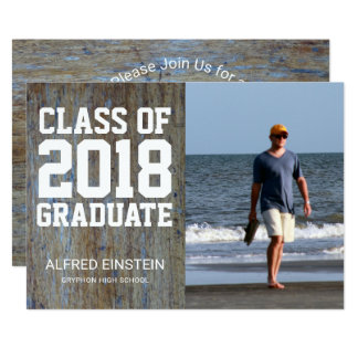 Rustic Wood Class of 2018 | Photo Graduation Party Card