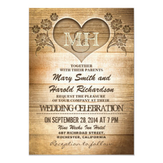 rustic wood country wedding invitations