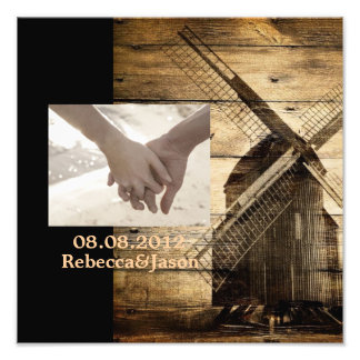 Rustic wood country windmill barn wedding photo print
