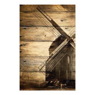 Rustic wood country windmill barn wedding stationery
