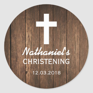 Rustic Wood Cross Baptism Christening Sticker